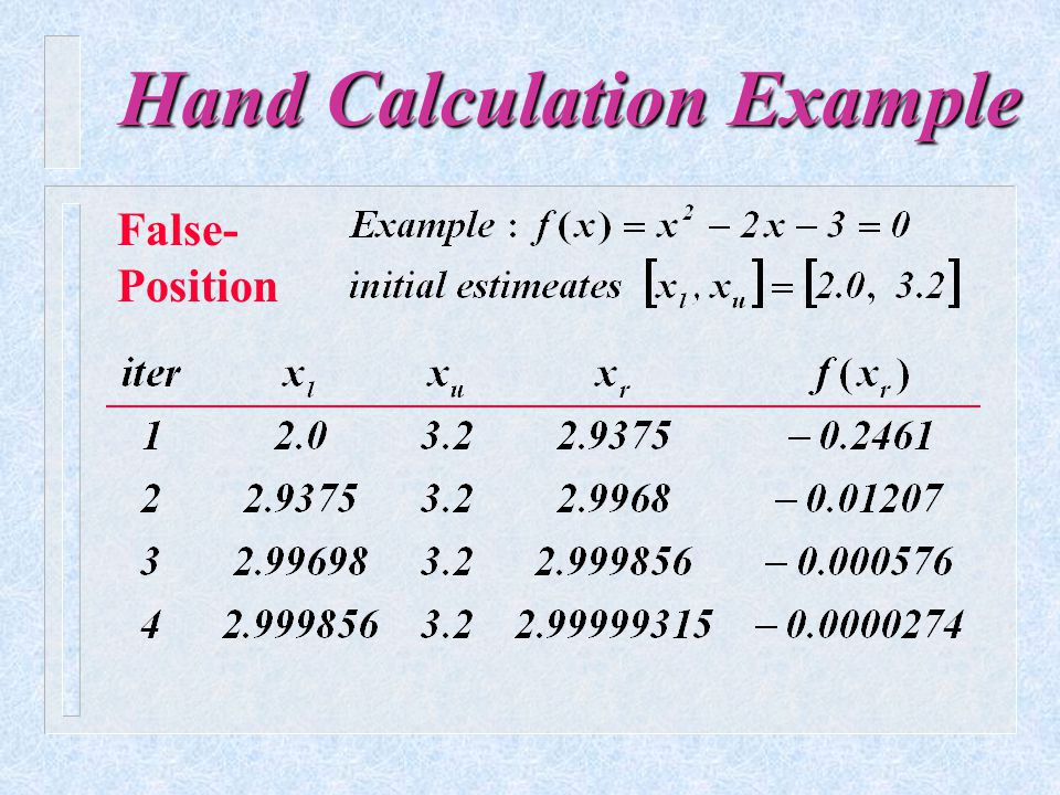 Hand Calculation Example