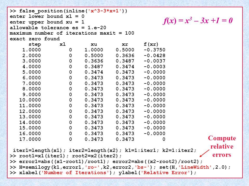 Compute relative errors