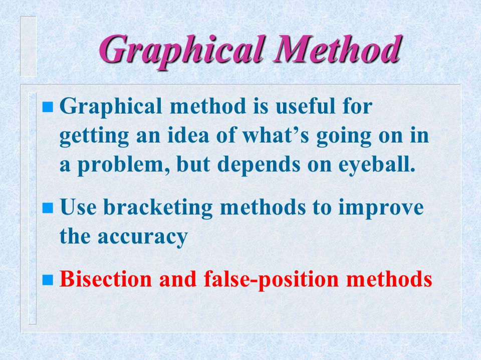 Graphical Method Graphical method is useful for getting an idea of what's going on in a problem, but depends on eyeball.