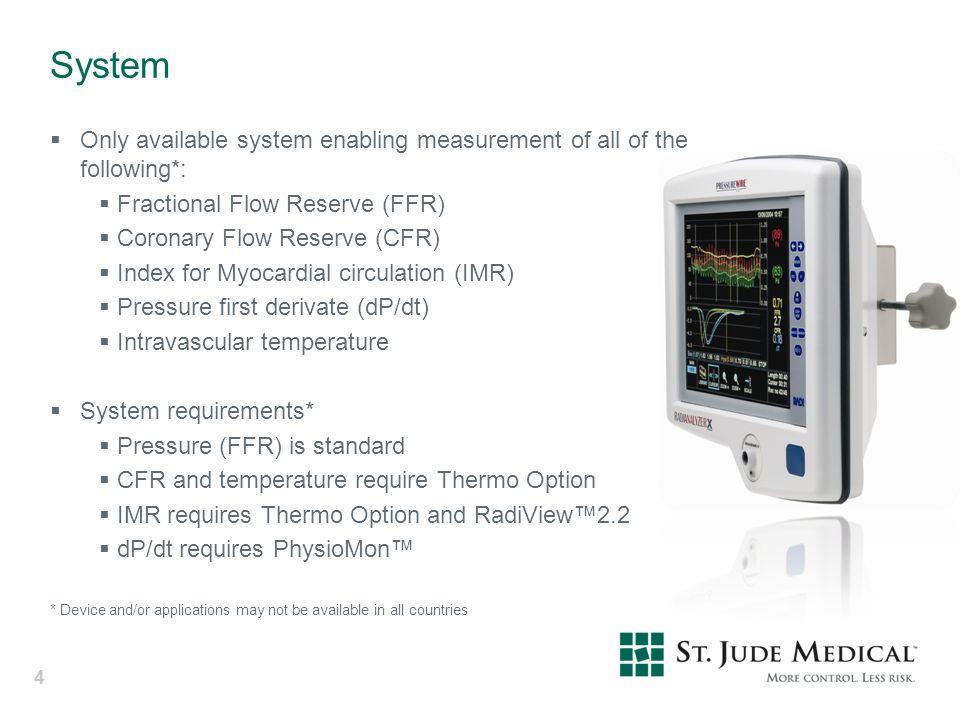 System Only available system enabling measurement of all of the following*: Fractional Flow Reserve (FFR)
