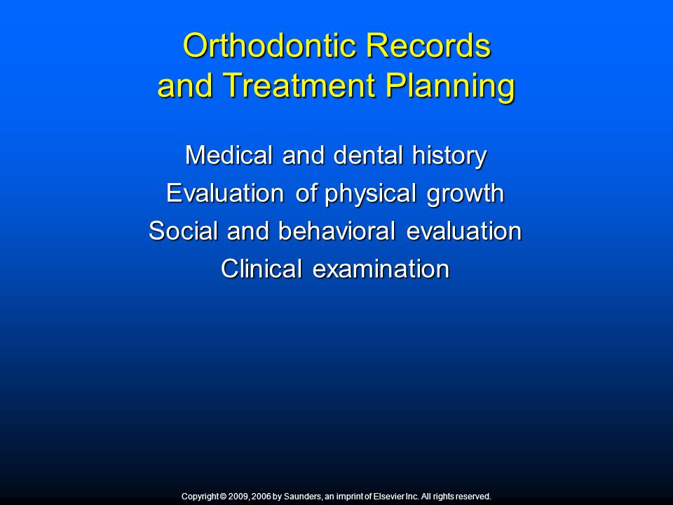 Orthodontic Records and Treatment Planning