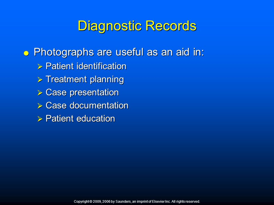Diagnostic Records Photographs are useful as an aid in: