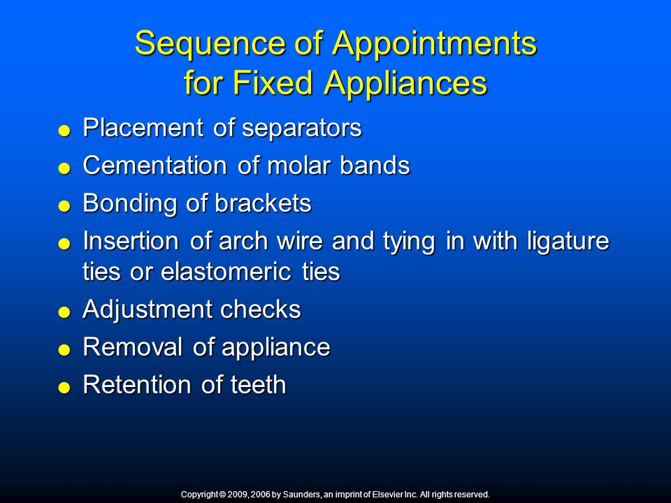 Sequence of Appointments for Fixed Appliances