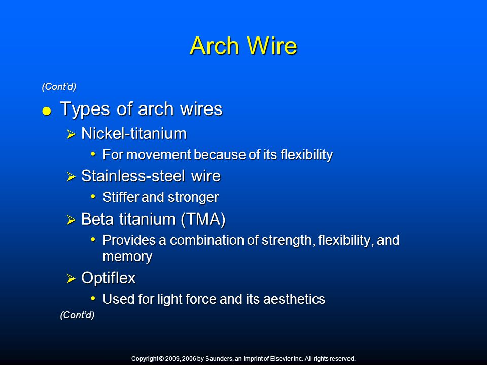 Arch Wire Types of arch wires Nickel-titanium Stainless-steel wire