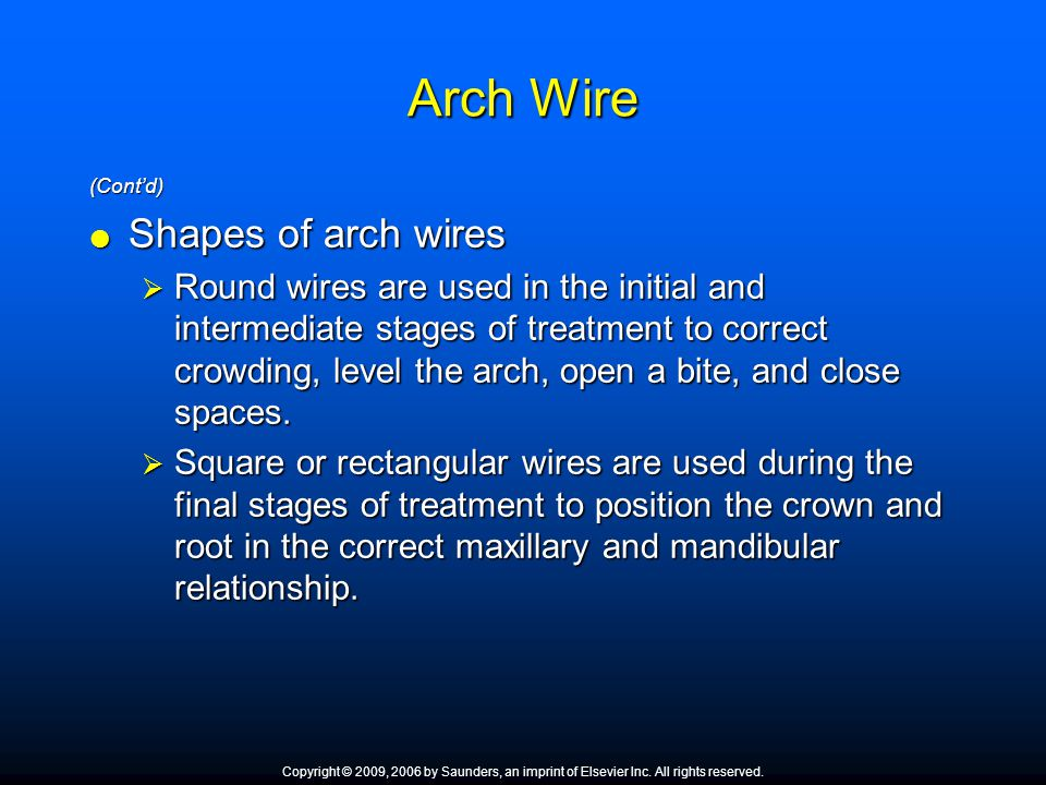 Arch Wire Shapes of arch wires