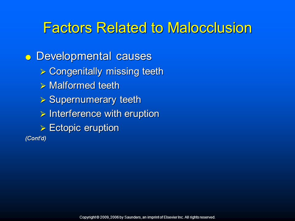 Factors Related to Malocclusion
