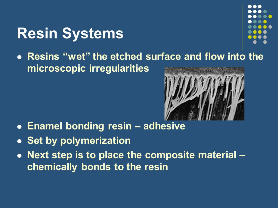Resin Systems Resins wet the etched surface and flow into the microscopic irregularities. Enamel bonding resin – adhesive.