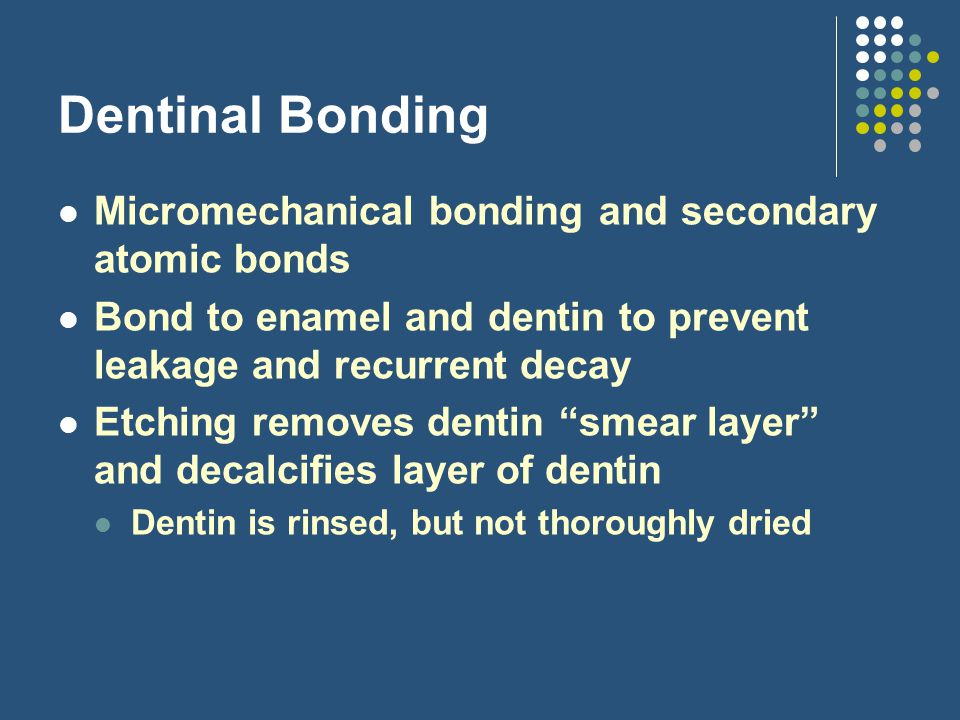 Dentinal Bonding Micromechanical bonding and secondary atomic bonds