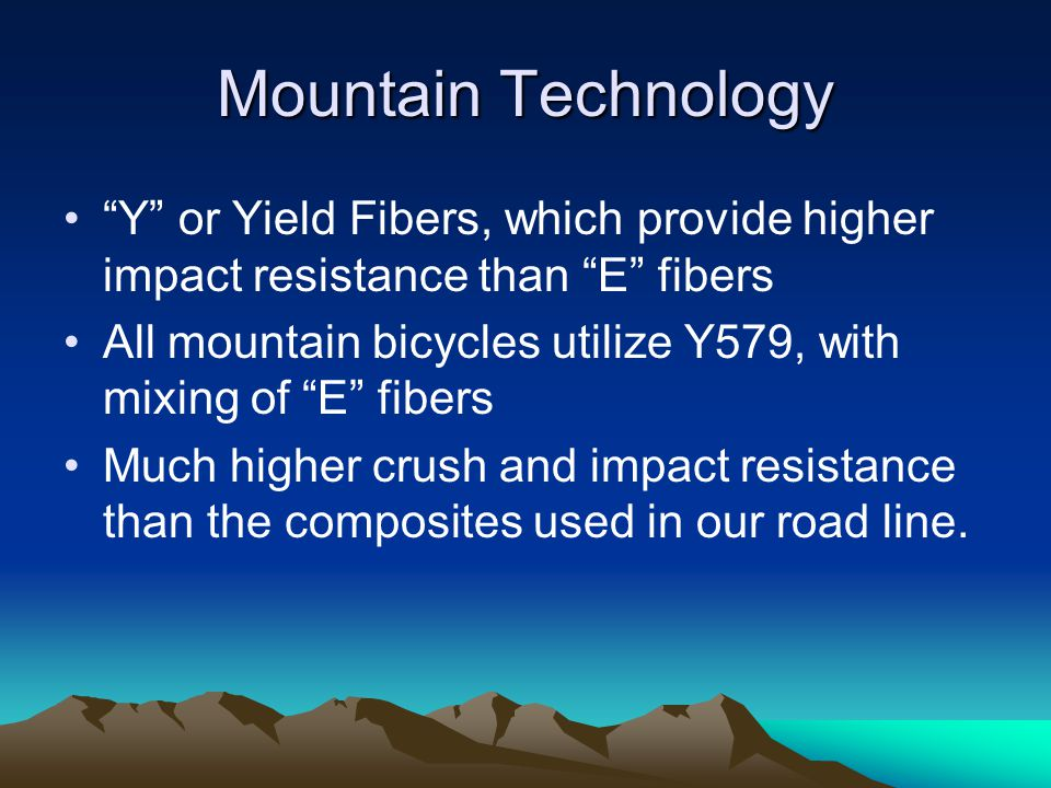 Mountain Technology Y or Yield Fibers, which provide higher impact resistance than E fibers.