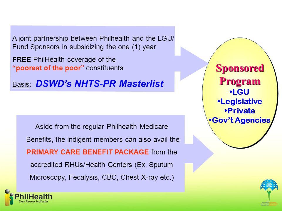 Sponsored Program LGU Legislative Private Gov't Agencies