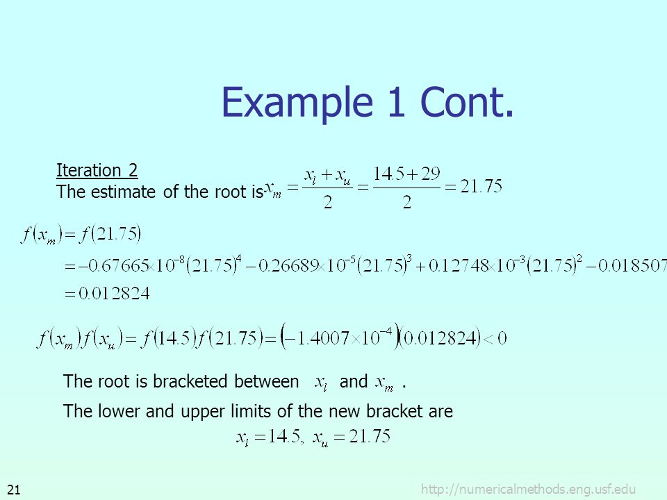 Example 1 Cont. Iteration 2 The estimate of the root is