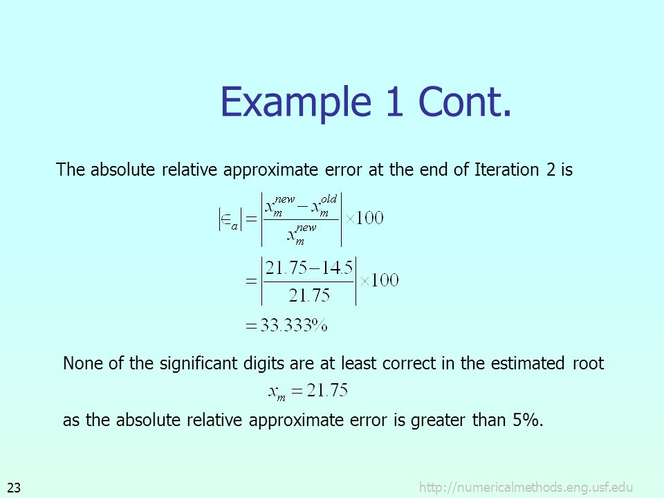 Example 1 Cont. The absolute relative approximate error at the end of Iteration 2 is.