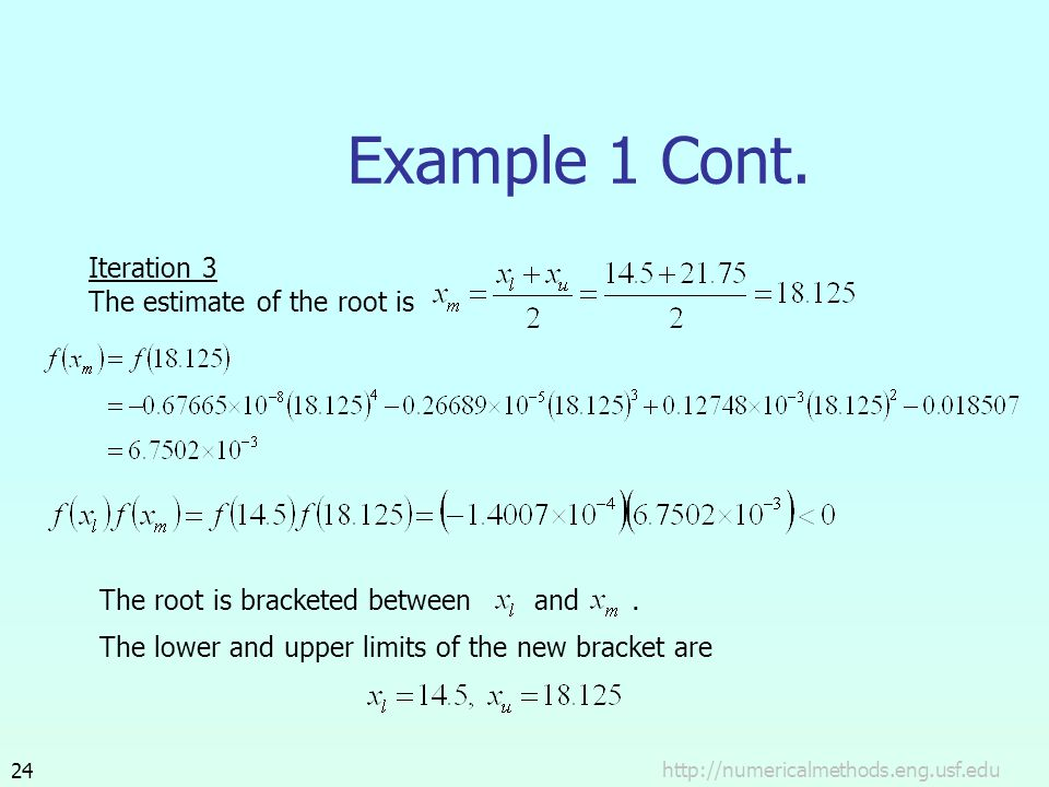 Example 1 Cont. Iteration 3 The estimate of the root is