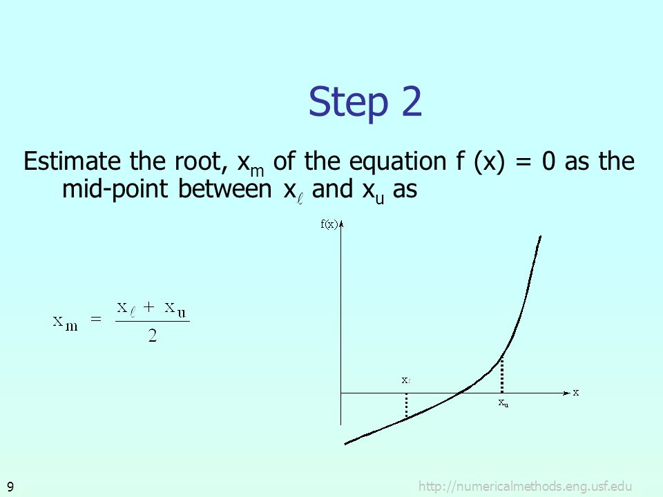 Step 2 Estimate the root, xm of the equation f (x) = 0 as the mid-point between xl and xu as.