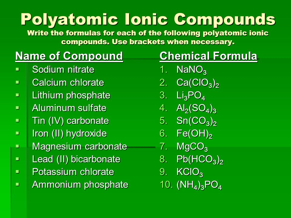 Polyatomic Ionic Compounds Write the formulas for each of the following polyatomic ionic compounds. Use brackets when necessary.