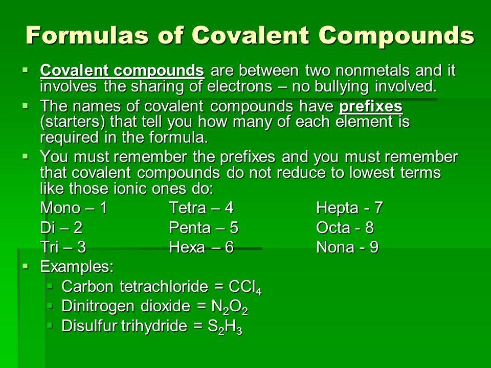 Formulas of Covalent Compounds