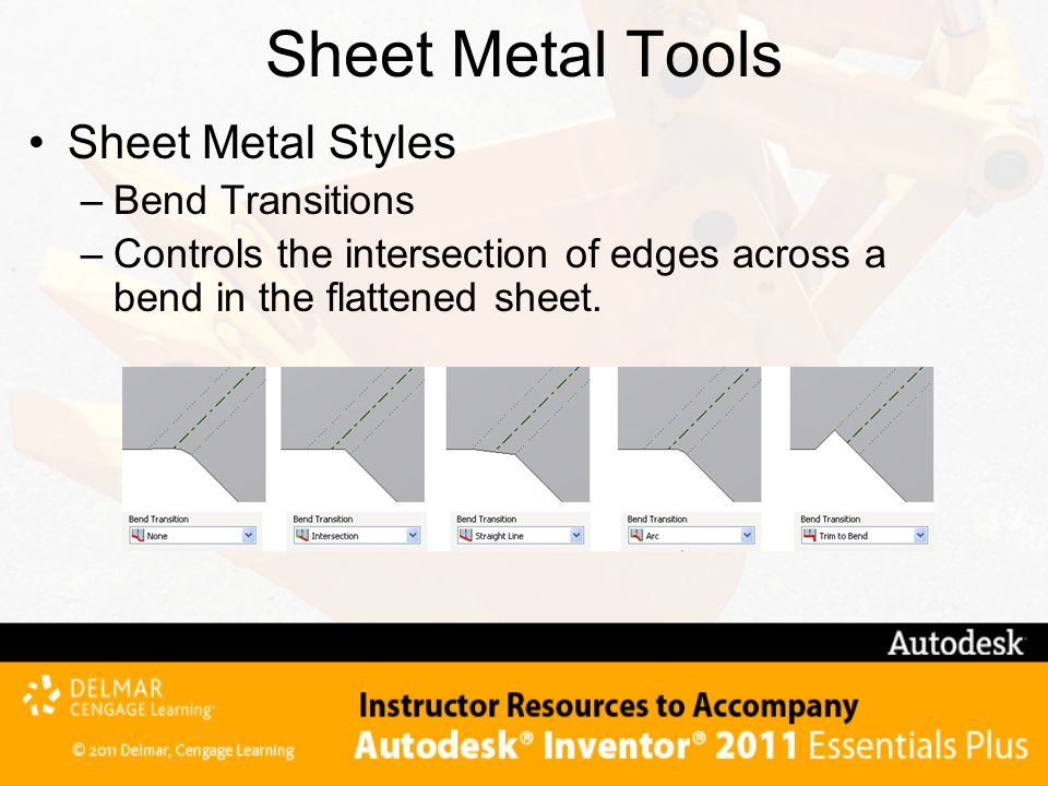 Sheet Metal Tools Sheet Metal Styles Bend Transitions