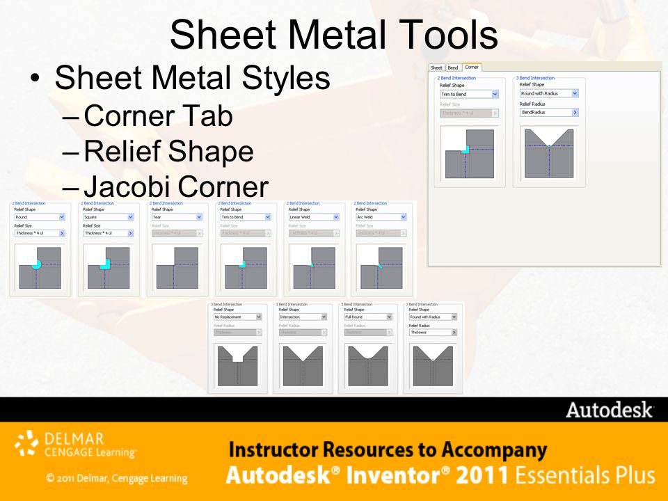 Sheet Metal Tools Sheet Metal Styles Corner Tab Relief Shape