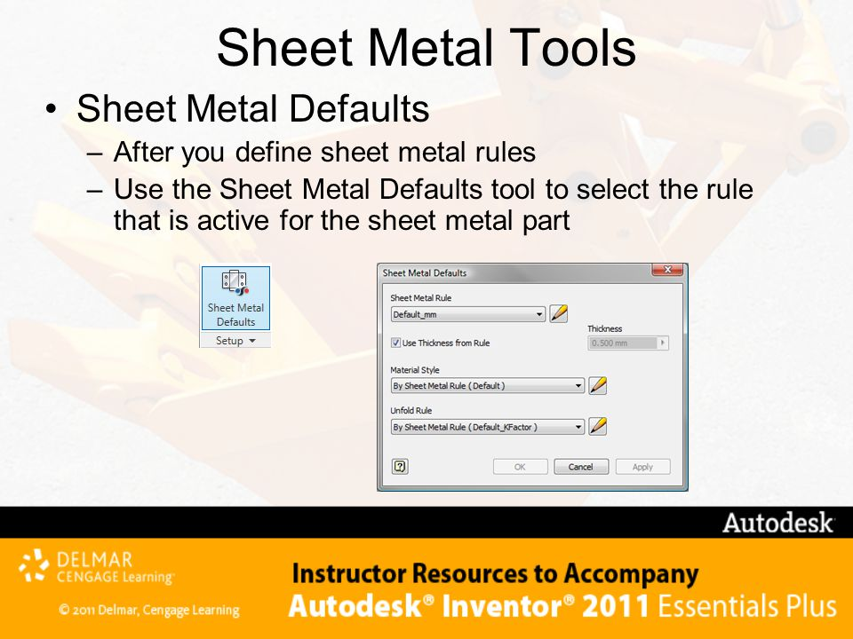 Sheet Metal Tools Sheet Metal Defaults
