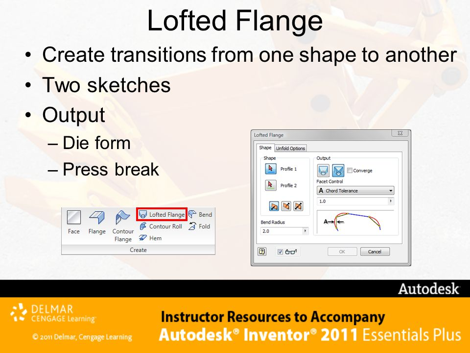 Lofted Flange Create transitions from one shape to another