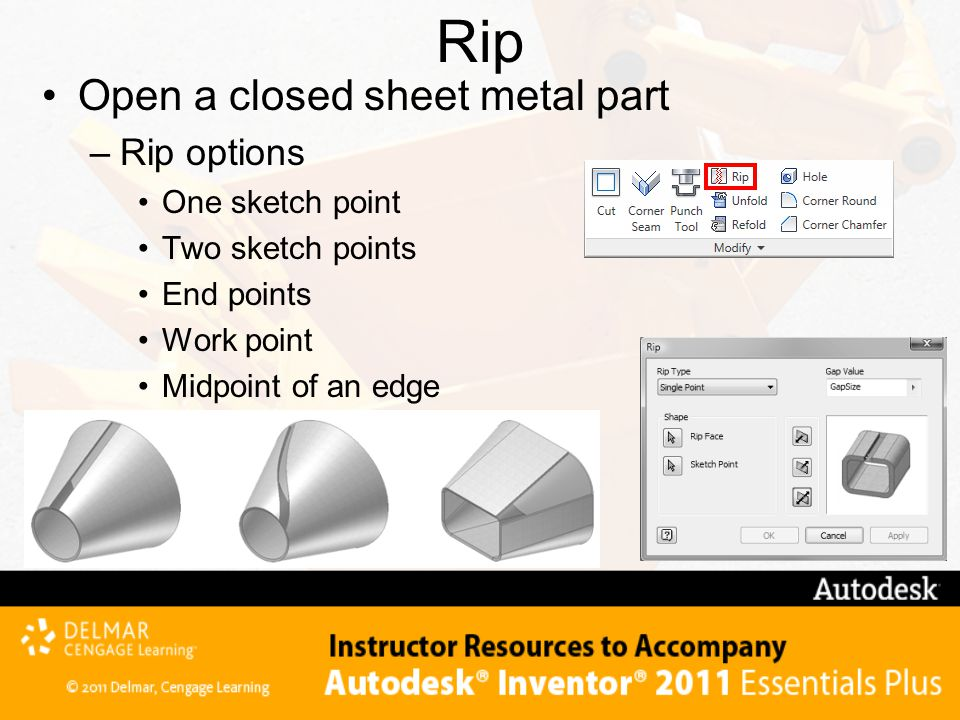 Rip Open a closed sheet metal part Rip options One sketch point