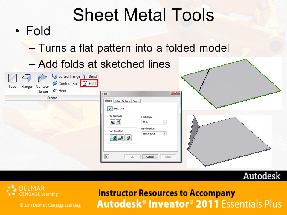 Sheet Metal Tools Fold Turns a flat pattern into a folded model