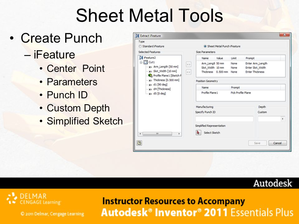 Sheet Metal Tools Create Punch iFeature Center Point Parameters