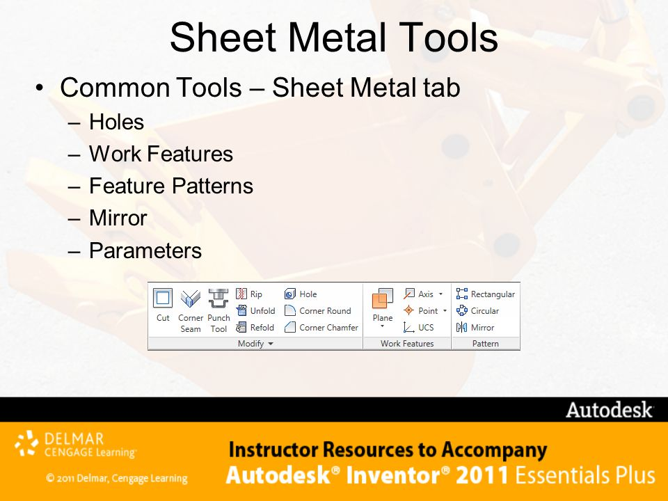 Sheet Metal Tools Common Tools – Sheet Metal tab Holes Work Features