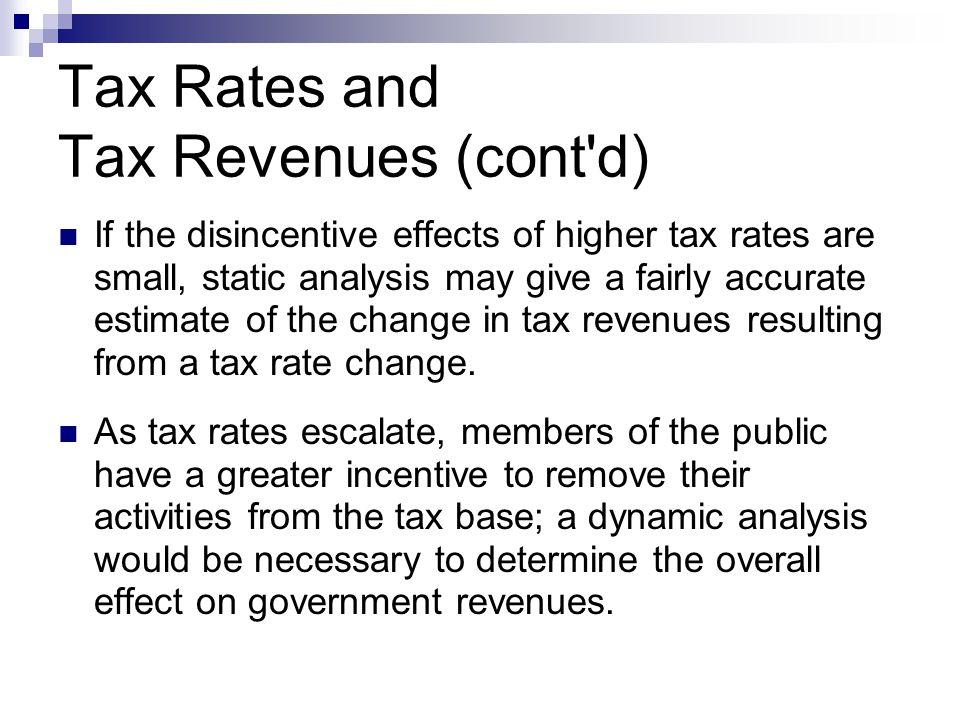 Tax Rates and Tax Revenues (cont d)