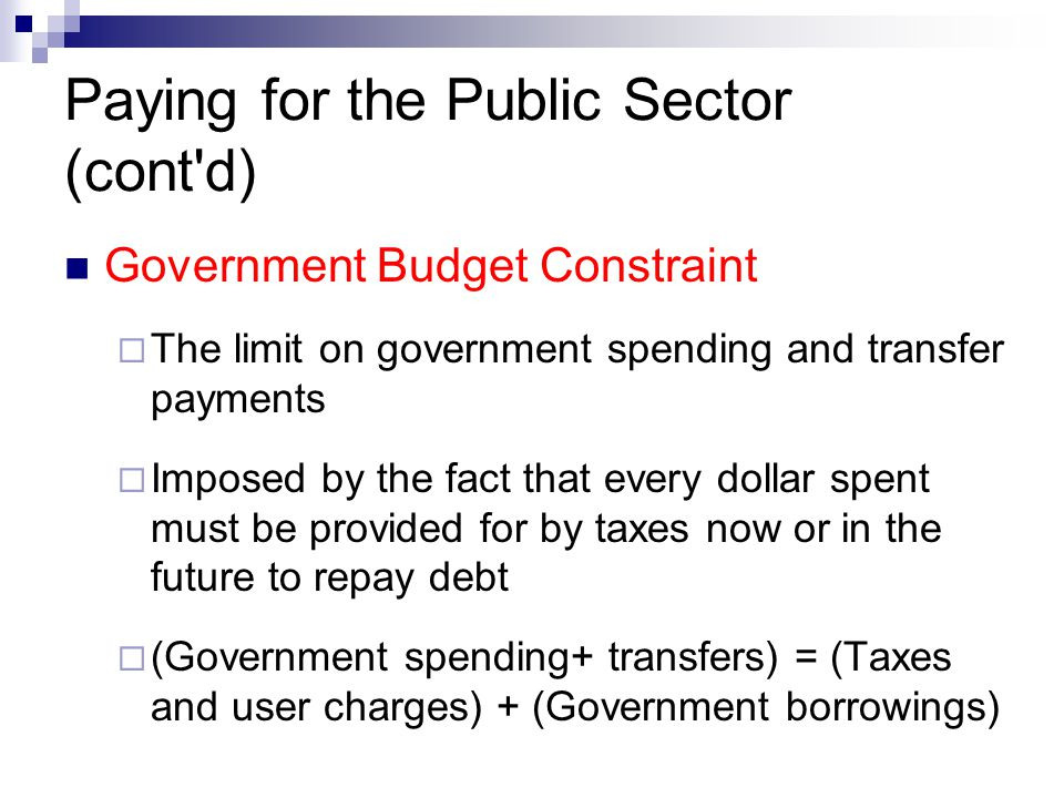 Paying for the Public Sector (cont d)