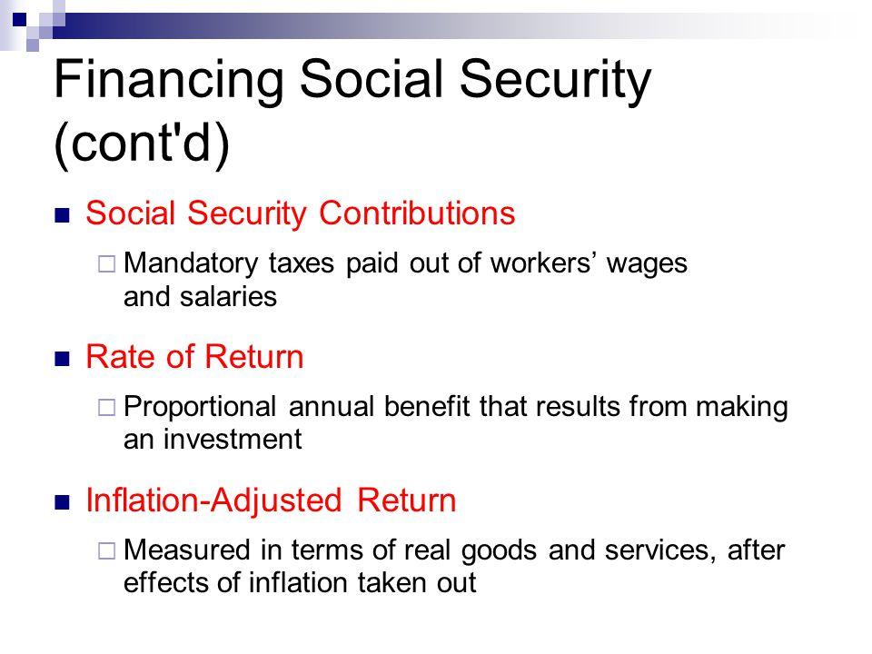 Financing Social Security (cont d)