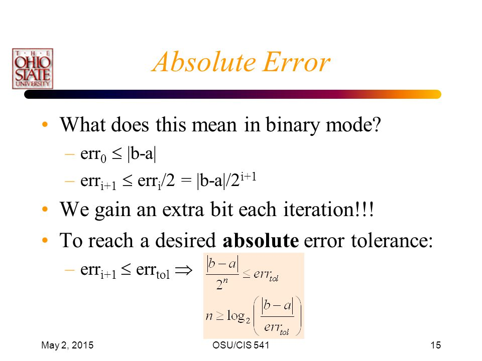 Absolute Error What does this mean in binary mode