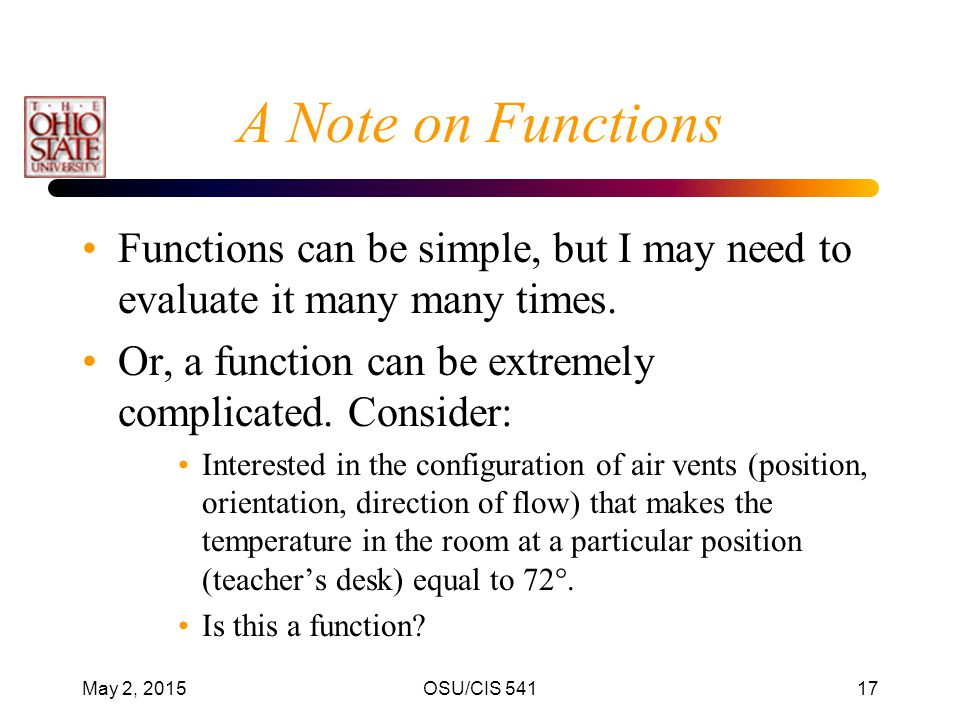 A Note on Functions Functions can be simple, but I may need to evaluate it many many times. Or, a function can be extremely complicated. Consider: