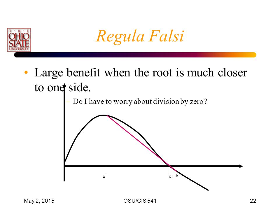 Regula Falsi Large benefit when the root is much closer to one side.