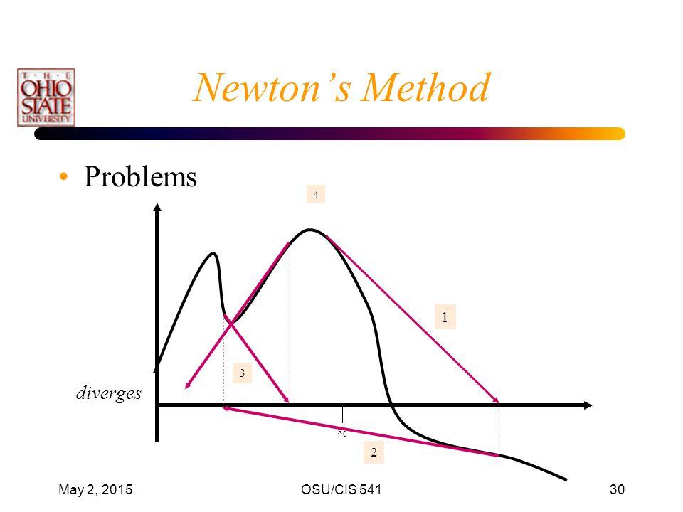Newton's Method Problems diverges 1 2 April 14, 2017 OSU/CIS 541 3 x0