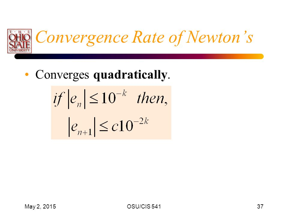 Convergence Rate of Newton's