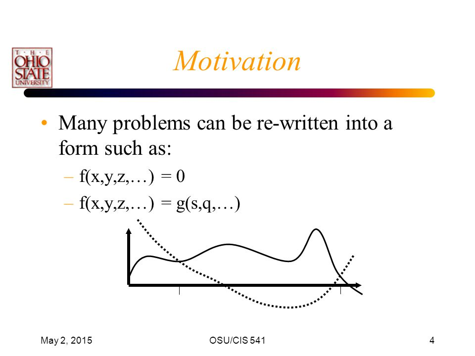 Motivation Many problems can be re-written into a form such as: