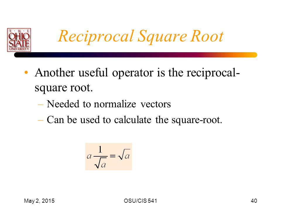 Reciprocal Square Root