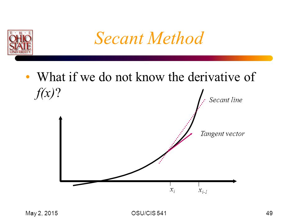 Secant Method What if we do not know the derivative of f(x)