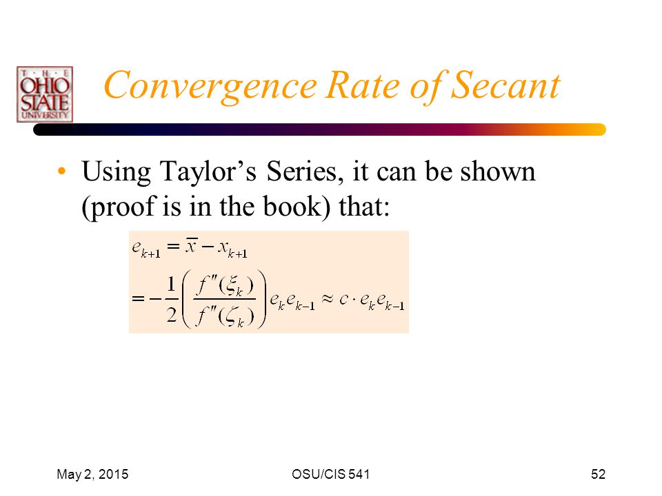 Convergence Rate of Secant