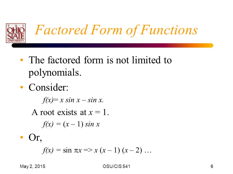 Factored Form of Functions