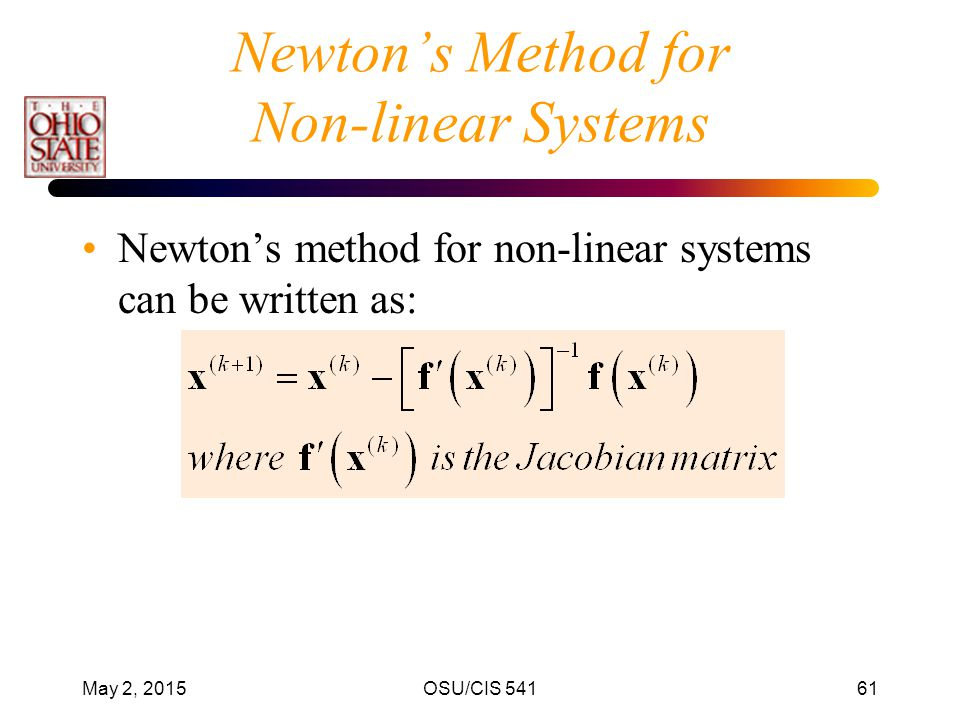 Newton's Method for Non-linear Systems