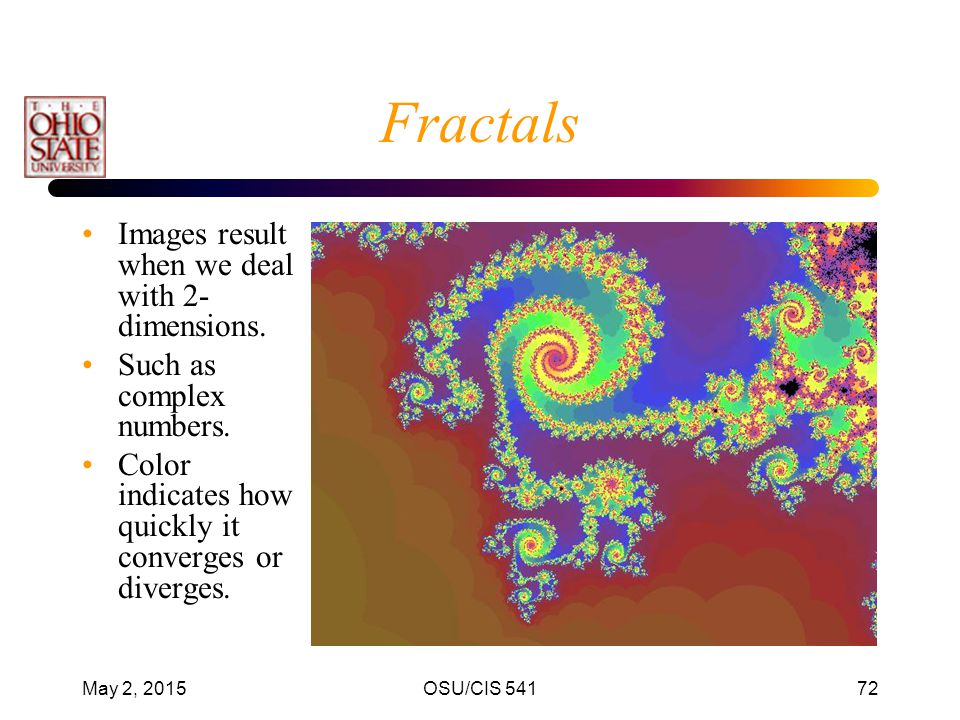 Fractals Images result when we deal with 2-dimensions.