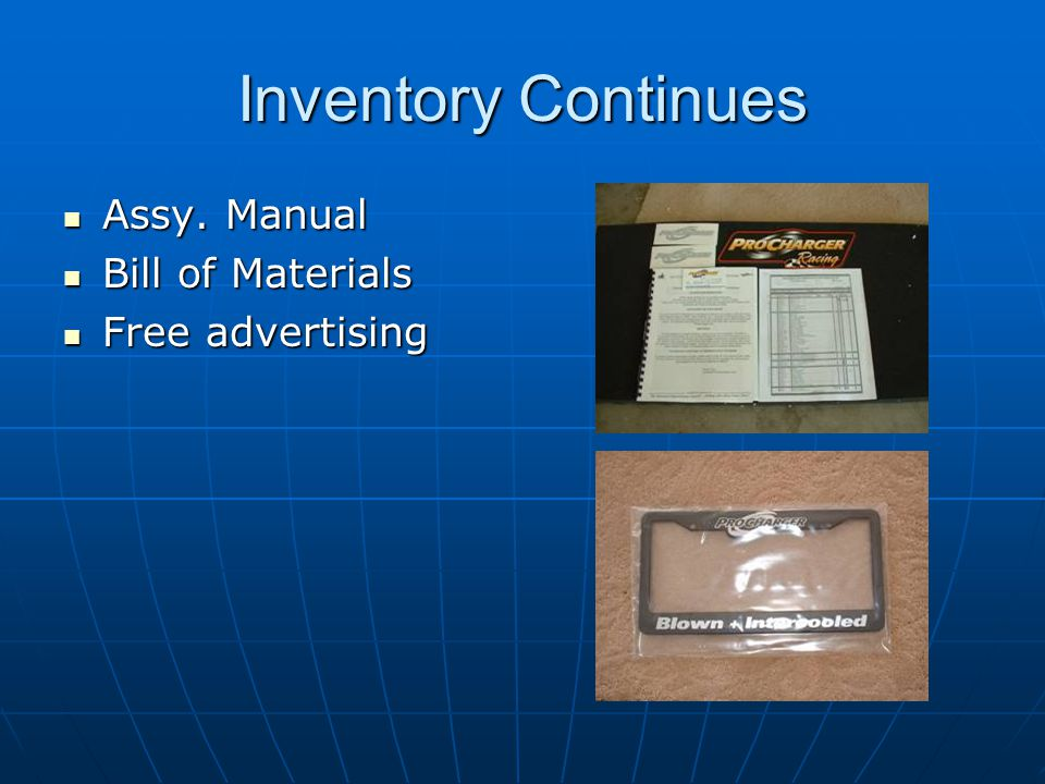 Inventory Continues Assy. Manual Bill of Materials Free advertising