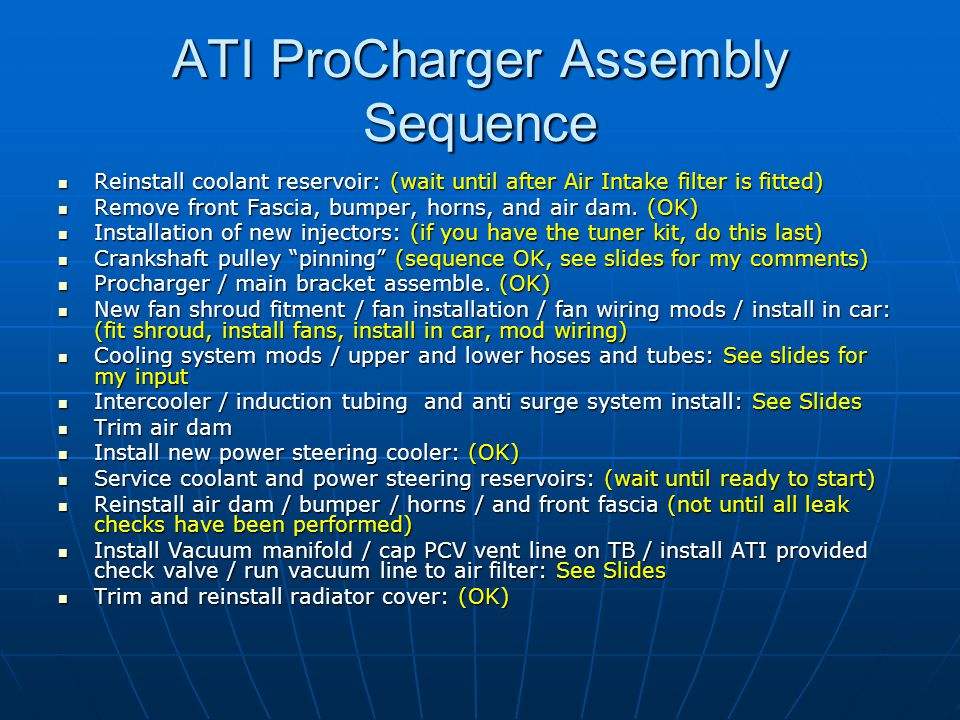 ATI ProCharger Assembly Sequence
