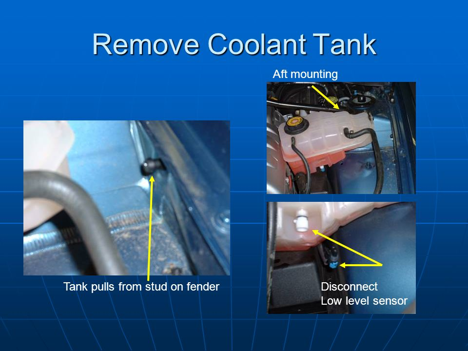 Remove Coolant Tank Aft mounting Tank pulls from stud on fender