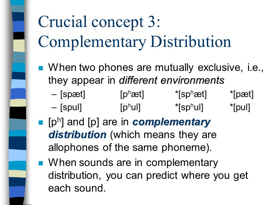 Crucial concept 3: Complementary Distribution