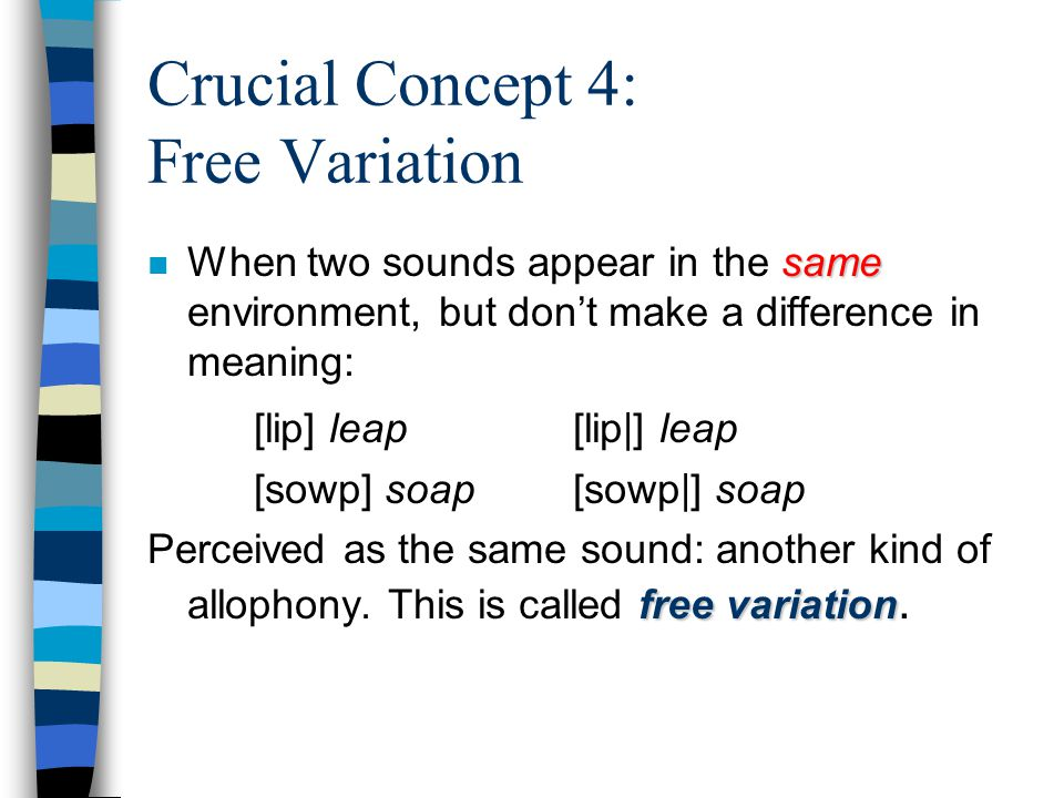 Crucial Concept 4: Free Variation