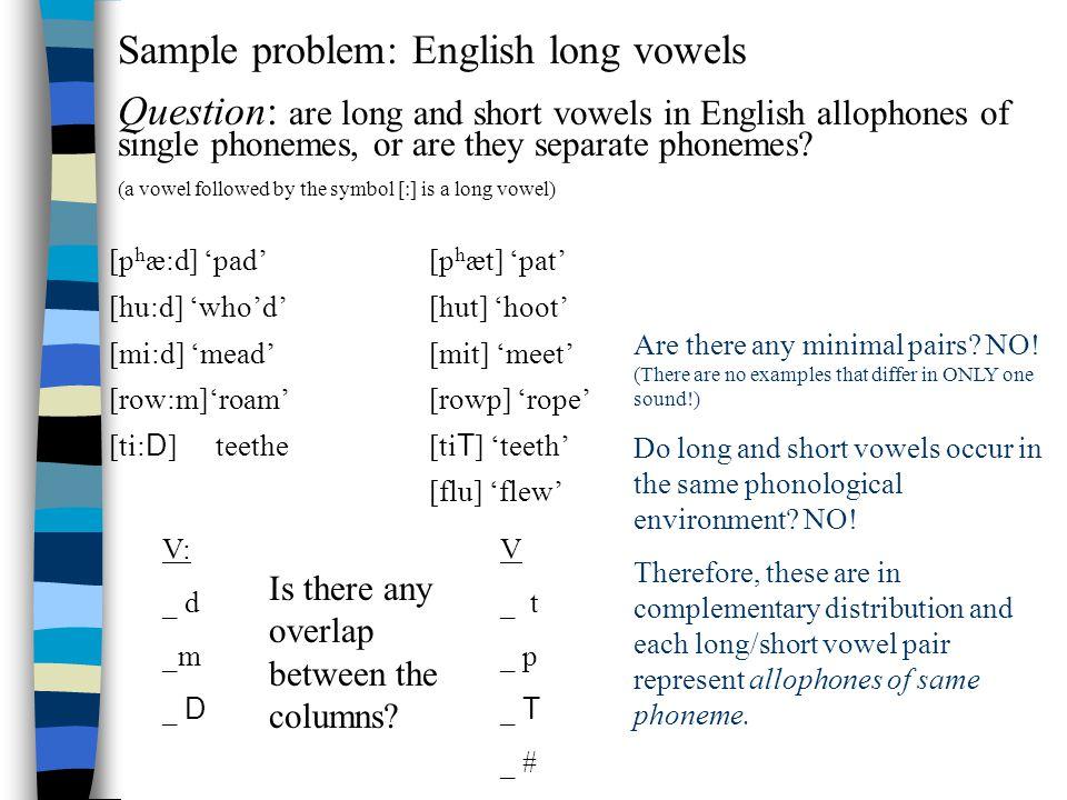 Sample problem: English long vowels