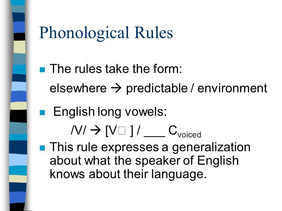 Phonological Rules The rules take the form: